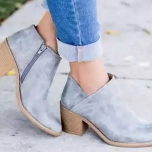 Boutique Shoes - ✨RESTOCKED!! Gray Blue Leather Booties✨